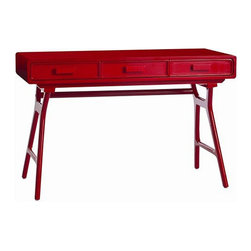 Arteriors Home - Arteriors Home Phillip Wood Desk - Arteriors Home 6549 - Arteriors Home 6549 - This standout red lacquer 3 drawer desk has its roots in the 50's.
