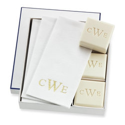 Williams-Sonoma Home Monogrammed Soap & Towel Gift Set - As your host or hostess prepares for future guests, they will so happy to display these monogrammed soaps and hand towels you brought from Williams-Sonoma.