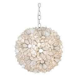Worlds Away - Worlds Away Capiz Venus Pendant - Capiz shell lotus pendant. Single socket use one 60w bulb. 3' chrome chain and canopy kit. Additional chain may be purchased upon request.