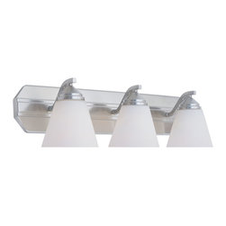 Designers Fountain - Designers Fountain Piazza Bathroom Lighting Fixture in Satin Platinum - Shown in picture: Piazza 3 Light Bath Bar in Satin Platinum finish with Frosted White glass