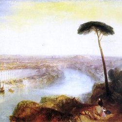 "Joseph William Turner Rome from Mount Aventine  Print - 18"" x 24"" Joseph William Turner Rome from Mount Aventine premium archival print reproduced to meet museum quality standards. Our museum quality archival prints are produced using high-precision print technology for a more accurate reproduction printed on high quality, heavyweight matte presentation paper with fade-resistant, archival inks. Our progressive business model allows us to offer works of art to you at the best wholesale pricing, significantly less than art gallery prices, affordable to all. This line of artwork is produced with extra white border space (if you choose to have it framed, for your framer to work with to frame properly or utilize a larger mat and/or frame).  We present a comprehensive collection of exceptional art reproductions byJoseph William Turner."