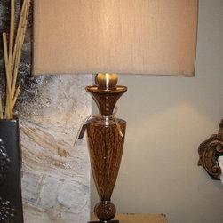 Hand Blown Brown Glass Lamp - Hand blown brown glass lamp $385.00