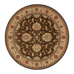 """Nourison - Nourison Living Treasures LI04 7'10"""" x 7'10"""" Brown Area Rug 67514 - Whirling and swirling in elegant arabesques, this beautifully woven floral design puts a new spin on tradition. Lush flowerheads burst with life on a field of richest sienna brown, with accents in sparkling ivory, papyrus and garnet."""