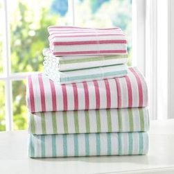 Simple Stripe Favorite Tee Sheet Set - Take your pick of striped sheets in three pastel hues.