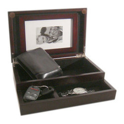 Proman - Royal Dresser Valet, Dark Mahogany Finish - Royal Dresser Valet, it's simple yet elegant with black lining interior and trays. It also comes with picture holder to store your memorable moment. Dark mahogany finish. Simple yet Elegant Dresser Valet with black lining interior trays. Compact size to fit any dresser and or nightstand. Comes with Picture holder for special memories. Nickel plated hinges.