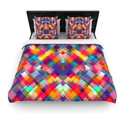 """Kess InHouse - Danny Ivan """"Squares Everywhere"""" Rainbow Shapes Cotton Duvet Cover (Queen, 88"""" x - Rest in comfort among this artistically inclined cotton blend duvet cover. This duvet cover is as light as a feather! You will be sure to be the envy of all of your guests with this aesthetically pleasing duvet. We highly recommend washing this as many times as you like as this material will not fade or lose comfort. Cotton blended, this duvet cover is not only beautiful and artistic but can be used year round with a duvet insert! Add our cotton shams to make your bed complete and looking stylish and artistic!"""
