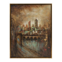 iMax - iMax Skyline Cityscape Framed Oil Painting X-18167 - The twinkling lights of the city at night, the hustle and bustle of city streets add an excitement in which you can truly feel in this painting.