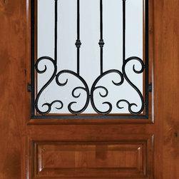 "Slab Single Door 96 Alder Valencia Arch Top Arch Lite Wrought Iron - SKU#E19662AWVBrandGlassCraftDoor TypeExteriorManufacturer CollectionArch Top Single DoorDoor ModelValenciaDoor MaterialWoodWoodgrainKnotty AlderVeneerPrice1945Door Size Options36"" x 96"" (3'-0"" x 8'-0"")  $0Core TypeDoor StyleArch TopDoor Lite StyleArch LiteDoor Panel Style3 PanelHome Style MatchingDoor ConstructionEstanciaPrehanging OptionsSlabPrehung ConfigurationSingle DoorDoor Thickness (Inches)1.75Glass Thickness (Inches)Glass TypeDouble GlazedGlass CamingGlass FeaturesTemperedGlass StyleGlass TextureWater , Flemish , Baroque , Fluted , Rain , Glue Chip , ClearGlass ObscurityLight Obscurity , Moderate Obscurity , Highest Obscurity , No ObscurityDoor FeaturesDoor ApprovalsWind-load Rated , SFI , TCEQ , AMD , NFRC-IG , IRC , NFRC-Safety GlassDoor FinishesDoor AccessoriesWeight (lbs)295.2Crating Size25"" (w)x 108"" (l)x 52"" (h)Lead TimeSlab Doors: 7 daysPrehung:14 daysPrefinished, PreHung:21 daysWarrantyOne (1) year limited warranty for all unfinished wood doorsOne (1) year limited warranty for all factory?finished wood doors"