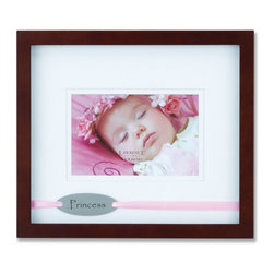"Lawrence Frames - Brown Princess 4x6 Picture Frame - Satin Pink Ribbon Design - This finely made walnut wood ""Princess"" shadow box frame includes a double bevel cut mat which gives this frame a lot of dimension. Also includes a satin pink ribbon holding a metal plate with the word ""Princess"" printed in black behind the glass inside the shadow box. This item comes individually boxed. Includes easel backing for tabletop display."