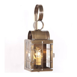 Irvin's Tinware - Single Outdoor Wall Lantern in Weathered Brass, Weathered Brass - Evoking thoughts of the carriage houses of days gone by, this single wall lantern is perfectly suited by the side door or on your modern carriage house.
