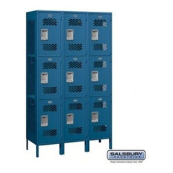 Salsbury Industries - Extra Wide Vented Metal Locker - Triple Tier - 3 Wide - 6 Feet High - Assembled - Extra Wide Vented Metal Locker - Triple Tier - 3 Wide - 6 Feet High - 18 Inches Deep - Blue - Assembled