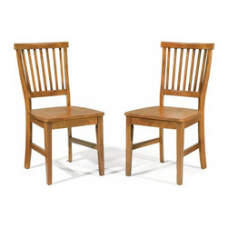 Home Styles - Home Styles Arts & Crafts Wood Side Chair in Cottage Oak Finish (Set of 2) - Home Styles - Dining Chairs - 5180802 - This set of two Arts & Crafts Side Chairs features a classic look and style perfect for any home. Add them to the Arts and Crafts Dining Table to create a complete dining set. Constructed of solid wood these chairs are finished in Cottage Oak. The high slatted backs and contoured seat add comfort to these wonderful chairs. Assembly required. Price shown includes 2 chairs