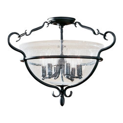 Sea Gull Lighting - Sea Gull Lighting 7700-07 Manor House Traditional Semi-Flush Mount Ceiling Light - The weathered iron finish comes alive as light shines through clear seeded glass with country grace and sophistication. Illuminate your home with the soft and pleasant light that this fixture emits. It's sure to be a welcoming addition to your home, whether it's found in the living room, dining room or kitchen.