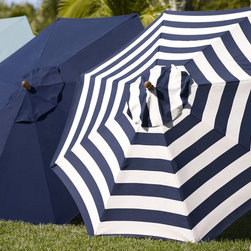 Sunbrella Round Umbrella, Awning Stripe, Navy - Stripes are such a fun summer accent and are perfect for a patriotic event. I love these navy blue stripes.