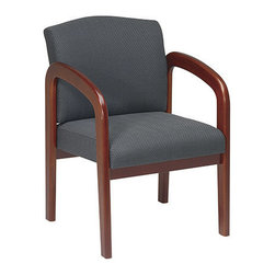 Office Star - Work Smart WD Collection WD387-320 Cherry Finish Wood Visitor Chair w/ Charcoal - WD387-320 Cherry Finish Wood Visitor Chair w/ Charcoal Fabric belongs to WD Collection Collection by Work Smart Cherry Finish Wood Visitor Chair. Thick Padded Seat and Back with Built-in Lumbar Support. Cherry Wood Base and Arms. Charcoal Fabric Office Chair (1)