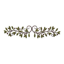Metal Olive Branch Over the Door Wall Decor 47 Inch. - This metal olive leaf wall scroll is perfect to hang above doors and hallways anywhere in your home, office, or restaurant. It measures 47 inches long, 11 inches high, and mounts to the wall with 3 nails or screws by the hangers on the back. It is painted with reddish brown and green enamels with a slightly distressed finish. This piece makes a lovely gift, and is sure to be admired.