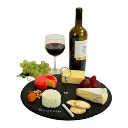 """Picnic at Ascot - Selva Round Slate Server, Black Slate by Picnic at Ascot - Selva Round Slate Server in Black Slate by Picnic at Ascot is great for cheese and appetizers and has a attractive center handle with non-slip protective feet. It is handcrafted of 1/4"""" thick natural slate board with a smooth surface and natural edges."""