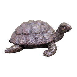 Garden Statuary, Garden Turtle, Outdoor Sculpture - Garden Turtle with a painted stone finish. Made of a durable and lightweight poly-resin.