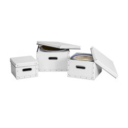 Cargo - Cargo Moderne Dinnerware Storage Boxes, Set of 3 - Keep your dinnerware safely stored in this elegant set of boxes. With durable construction, room for service for 12 and separator sheets included, it has all your storage needs (and style wants) well handled.
