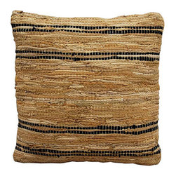 St. Croix Trading - Matador Tan and Black 18-Inch Leather Chindi Pillow - - Durable as they are striking in design, the Matador Collection of Leather pillows are meticulously made by hand-weaving leather strips with a fine cotton strand, resulting in a beautiful, rustic texture and interesting natural braided pattern.   - Add the smell and feel of real leather to any room with this hand woven leather pillow.   - This leather pillow has shades of tan leather stripes accented with black stripes.   - The backing is made of cotton with hidden zipper closure and filled with siliconized polyester that is considered anti-microbial and hypoallergenic.   - Spot Clean. St. Croix Trading - PLCD1809