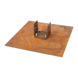 Frontgate - Mesa Outdoor Torch Mounting Plate - Steel with a natural rust finish. Fueled by an easy drop-in gel canister. Mount by pushing the torch into the ground using the included auger, or by bolting the flat base to the desired surface. Holds one 13.5 oz. can of SunJel fuel (sold separately). Available in Pure unscented and the subtle summertime scent of Citronella, the gel is a soot-free, fume-free, clean-burning fuel. The raw, artistic feel of our Mesa Torches will fill any landscape with a desert ambiance. The rusted steel frame offers interesting angles, contrasted by smooth white rocks, handpicked from a Utah quarry. Three heights of torches, each producing an impressive flame, offer countless ways to create a dramatic arrangement.  .  .  . . . . Made in the USA.