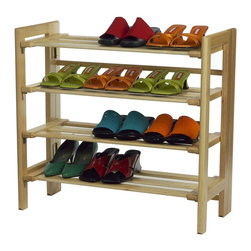 Winsome Wood - Winsome Wood 4-tier Shoe Rack with Natural Finish X-82218 - The shoe rack can hold at least a dozen pairs of shoes and can be stacked on top of another unit to create a wall of shoes. Simple and polished, it is an easy way to organize the clutter at the bottom of your closet.