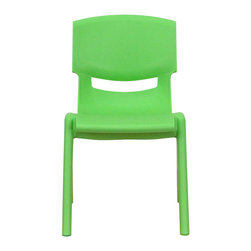 "Flash Furniture - Green Plastic Stackable School Chair with 12'' Seat Height - This chair is the perfect size for Preschool to Kindergarten sized children. Having young children sit in a chair that is designed for them is important in developing proper sitting habits that will last them a lifetime. Not only are these chairs designed properly, but they are lightweight so kids can feel independent by moving the chairs themselves.; School Stacking Chair; 176 lb. Static Load Capacity; Encourages proper sitting habits; Primary colors support early childhood development; Green Polypropylene Plastic; Ergonomic One-Piece Shell; Lightweight Design; Easy To Clean; No Metal Parts prevent injuries to small children; Stacks up to 10 Chairs High; Recommended for Preschool - Kindergarten Ages; Assembly Required: Yes; Country of Origin: China; Warranty: 2 Years; Weight: 4 lbs.; Dimensions: 21.875""H x 12.75""W x 15.125""D"