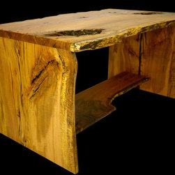 "SuperNatural Oak Desk #2 - This is one of our first pieces to qualify for our new 2012 ""SuperNatural"" collection.  The oak lumber was obtained from a tree that we obtained in 2007 from a Cherokee Alabama 1840's plantation home - Barton Hall.  The tree had recently been downed in a storm which also damaged the home.  The late civil rights photojournalist Charles Moore's last photoshoot was of this unusual day in the life of wood ""player"" Robin Wade and his crew cutting and moving the tree onto his trailer for transport to Robin's studio.  Photo's courtesy of the late Charles Moore and Robin Wade."