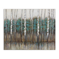 Uttermost - 'Edge of the Forest' Canvas Art - This haunting canvas is stretched on wooden stretchers and left unframed so nothing interferes with its beauty. You will feel as though you are standing on the edge of the forest peering through the poplar trees looking for ... what?