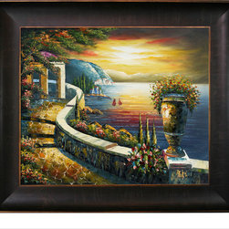 overstockArt.com - Sunset at Gazebo Point Oil Painting - Sunset at Gazebo Point is a remarkable oil painting with exceptional use of color, detail and brush strokes to give you a grand interpretation of an old seaside Mediterranean city. The stunning floral arrangements, full of bright, spring colors, tell a story of a young brewing romance. Adding this piece to your collection is sure to bring life to any room in your home.
