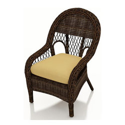 Forever Patio - Leona Wicker Patio Dining Chair, Canvas Wheat Cushion - You and your guests will love dining outdoors with the beautifully designed Forever Patio Leona Outdoor Wicker Dining Chair (SKU FP-LEO-DC-MC-CW). The mocha-colored wicker is UV-protected, and features two tones that give it a more natural, traditional look. Each strand of this outdoor wicker is made from High-Density Polyethylene (HDPE) and is infused with its rich color and UV-inhibitors that prevent cracking, chipping and fading ordinarily caused by sunlight. These outdoor dining chairs are supported by thick-gauged, powder-coated aluminum frames that make them more durable than natural rattan. The chairs include fade- and mildew-resistant Sunbrella cushions, adding comfort to your outdoor space.