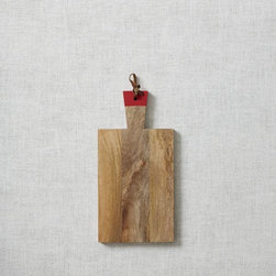 Raw Wood Board, Red Dip - I'm borderline obsessed with this raw mango wood board and its cute red handle. It's both a prep surface and a serving platter. I'd love to serve cheeses and appetizers on this.
