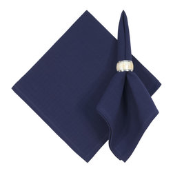"""Traders and Company - Hand Woven 100% Cotton Solid Navy Blue 22""""x22"""" Napkins, Set of 6 - Navy - Imported hand-loomed 100% cotton napkins add a mark of color and elegance to your dining table. Napkin ring not included. Machine washable with similar colors in cold water, and cool dry. Made in India."""