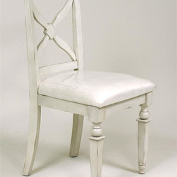 AA Importing - X-Back Chair w White Finish & Upholstered Sea - Cross-back design. 18.5 in. L x 21 in. W x 38 in. H (21 lbs.)