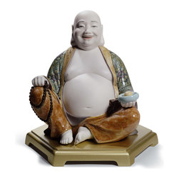 "Lladro Porcelain - Lladro Happy Buddha Figurine - Plus One Year Accidental Breakage Replacement - "" One who wishes to become a student of the Buddha should first learn from Maitreya Bodhisattva, better known as The happy Buddha. Maitreya Bodhisattva represents the most basic conditions necessary to become a Buddhist: a smiling face and a big heart, represented by his big belly. Generally speaking, Happy Buddha is Budda Maitreya. There are 5 key points and features to present Budda Maitreya, that can be found on this piece: Smile: his smile represents endless happiness and mercy. When you stare at Happy Buddha, you will also be influenced by these feelings. Long ear lobe: his long ear lobes mean he can listen to different voices. Even if they are insults, he can bear them and answer with a happy smile. Round, big and fat belly: means his belly can contain everything in the world, whether it is good or bad, smart or silly? Naked chest and belly: symbolizes honesty, nothing to hide, no cheating. Cloth bag: it contains huge treasures and can bring fortune, as well as happiness to human beings. In addition, in some depictions Happy Buddha appears holdinga a bowl with one coin, it represents an ancient Chinese coin and stands for wealth. Hand Made In Valencia Spain - Sculpted By: Francisco Cuesta - Included with this sculpture is replacement insurance against accidental breakage. The replacement insurance is valid for one year from the date of purchase and covers 100% of the cost to replace this sculpture (shipping not included). However once the sculpture retires or is no longer being made, the breakage coverage ends as the piece can no longer be replaced. """