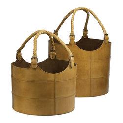 Lazy Susan - Nested Caramel Leather Buckets, Set of 2 - Nested Caramel Leather Buckets, Set of 2