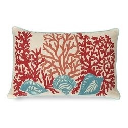 """IMAX - Tyden Shells and Coral Pillow - Featuring embroidered coral and shell accents, this 100% cotton pillow adds a playfulness to any coastal inspired room. Filled with sylconized polyfill. Item Dimensions: (16""""L x 16"""")"""