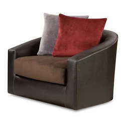Chelsea Home - Modern Swivel Chair - Includes toss pillows. Medium seating comfort. Attached seat and back cushions. Created with sinuous springs to provide no sag seating. 1.8 dacron . Celeron ore, groovy chocolate, groovy smoke and crimson covers. Fabric content: Bonded leather/100% polyester. Nailed, stapled and corner blocked frame. Frame provide strength and durability. Made from solid hardwoods and plywood. Made in USA. No assembly required. 64 in. W x 36 in. D x 40 in. H (125 lbs.)