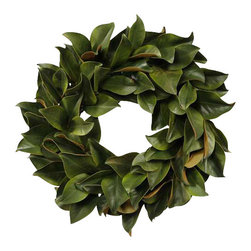 Jane Seymour Botanicals - Wreath Magnolia Leaf - Say hello to a decorative wreath you won't have to say goodbye to. This realistic permanent magnolia leaf wreath will look inviting adorning your door or wall year after year.