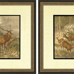 Wendover Art - Small Deer Series Set of 2 - These triking Giclee on Paper prints add subtle style to any space. Beautifully framed piece of art has a huge impact on a room for relatively low cost! Many designers and home owners select art first and plan decor around it or you can add artwork to your space as a finishing touch. These spectacular prints really draw your eye and can create a focal point over a piece of furniture or above a mantel. In a large room or on a large wall, combine multiple works of art to in the same style or color range to create a cohesive and stylish space! This striking image is beautifully framed in black and leaf.