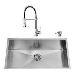 VIGO Industries - VIGO Undermount Stainless Steel Kitchen Sink, Faucet, Colander, Grid, Strainer a - Get everything you need with this complete kitchen set that will revitalize the look of your kitchen.