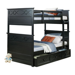 Homelegance - Homelegance Sanibel Twin over Twin Bunk Bed with Trundle in Black - As breezy as a day at the beach, the modern cottage styling of the Sanibel collection will meld effortlessly with your casual personal style. Diamond overlay curves throughout the entire collection - capping the headboard then carrying on to the gracefully bowed case pieces. The versatility of the design lends to the perfect placement in a master suite, guest or child's bedroom. The collection is offered in black or white.