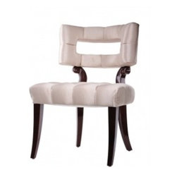 """Eco First Art 3 - Curvaceous and sexy, the """"Lauren"""" Chair is an homage to the work of designers such as William Haines Inc. and Grosfeld House. Created originally as a dining chair, the generous proportions make it perfect for almost anywhere a chair is desired"""