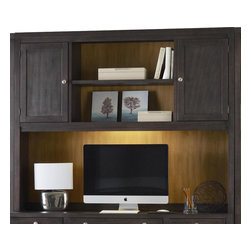 Hooker - Hooke South Park Computer Credenza Hutch - The simple Computer Credenza Hutch offers even more storage space, with two fixed shelves and one adjustable shelf on each side, and one shelf above the TV space, providing you with small compartments to display decorative trinkets. Finished in an earthy brown color, this hutch introduces sophisticated style and storage into the matching computer credenza.