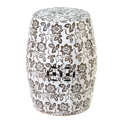 KOOLEKOO - Floral Ceramic Decorative Stool - The floral pattern on this stool is a beautiful way to add some graphic drama to your home. It can be used as a stool, table or as a standalone decorative accent. Move it to the garden or patio for outdoor use!