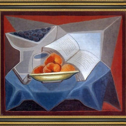"""Art MegaMart - Juan Gris Fruit and Book - 16"""" x 20"""" Framed Premium Canvas Print - 16"""" x 20"""" Juan Gris Fruit and Book framed premium canvas print reproduced to meet museum quality standards. Our Museum quality canvas prints are produced using high-precision print technology for a more accurate reproduction printed on high quality canvas with fade-resistant, archival inks. Our progressive business model allows us to offer works of art to you at the best wholesale pricing, significantly less than art gallery prices, affordable to all. This artwork is hand stretched onto wooden stretcher bars, then mounted into our 3 3/4"""" wide gold finish frame with black panel by one of our expert framers. Our framed canvas print comes with hardware, ready to hang on your wall.  We present a comprehensive collection of exceptional canvas art reproductions by Juan Gris."""