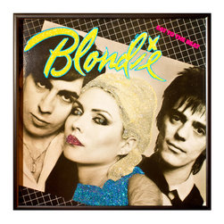 """Glittered Blondie Eat to the Beat Album - Glittered record album. Album is framed in a black 12x12"""" square frame with front and back cover and clips holding the record in place on the back. Album covers are original vintage covers."""