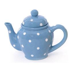 Ceramic Teapot - Blue w/ White Polka Dots - FREE SHIPPING !!!!!!!!