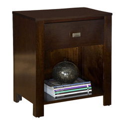 Modus Furniture - Modus Riva One-Drawer Nightstand in Chocolate Brown - Crafted from Tropical Mahogany solids and a variety of beautiful veneers, the Nevis collection Features Solid wood drawer boxes with English dovetail joints on both front and back, Full extension ball bearing drawer glides, and are corner blocked to ensure rigidity, making them as functional as they are sleek. The wide variety of pieces are enhanced by an elaborate American finishing process in either a rich Spice, a deep, dark Espresso, or Chocolate Brown. All are complimented by brushed chrome hardware. Together with a vast array of contemporary platform, low profile and sleigh bed styles, the Nevis collection blends the sleek and exotic with the functional.