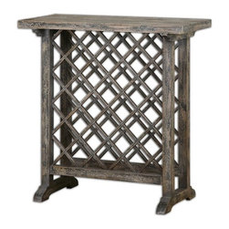 Uttermost - Annileise Wooden Wine Table - Casual wine storage displayed in poplar wood latticework in a sun faded, weathered charcoal finish showing multiple layers of hand distressing.